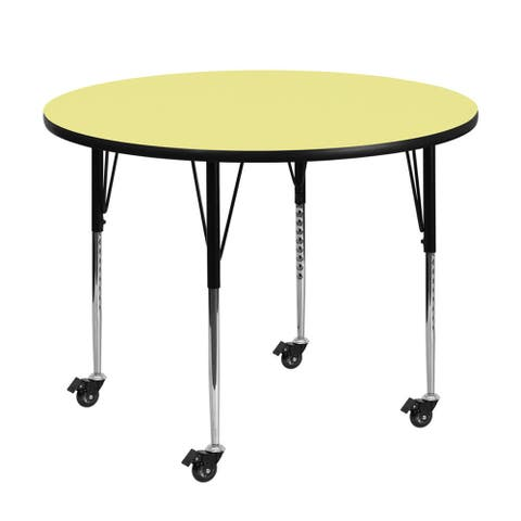 "Offex 60"" Mobile Round Activity Table with Yellow Thermal Fused Laminate Top and Height Adjustable Pre-School Legs"