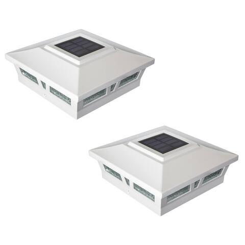 6x6 White Aluminum Oxford Solar Post Cap (Set of 2)