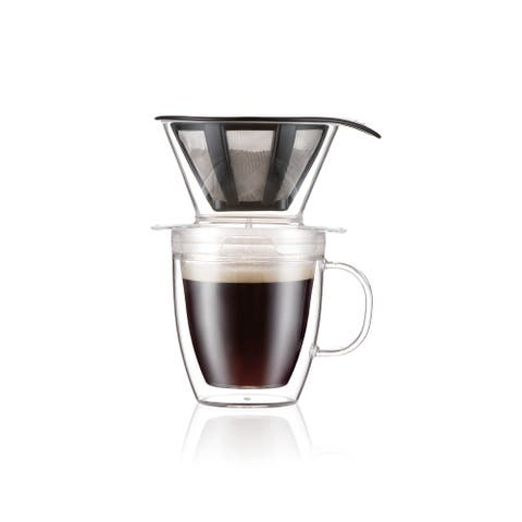 Pour Over Coffee Dripper Set With Double Wall Mug and Permanent Filter, 12 Ounce, Clear - 12 Ounce