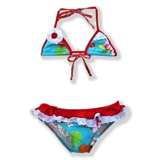 Azul Little Girls Red Turquoise Totes Cute Triangle 2 Pc Bikini Swimsuit (4 options available)