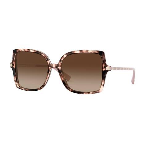 Valentino VA4072F 509813 56 Havana Pink Woman Square Sunglasses - Tortoise