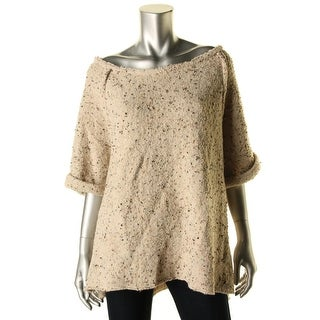 Free People Womens Tweed Oversized Pullover Sweater