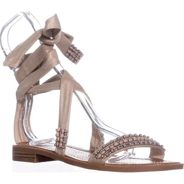 Nine West Xoanna Flat Ankle-Strap Sandals, Light Gold - 10.5 us
