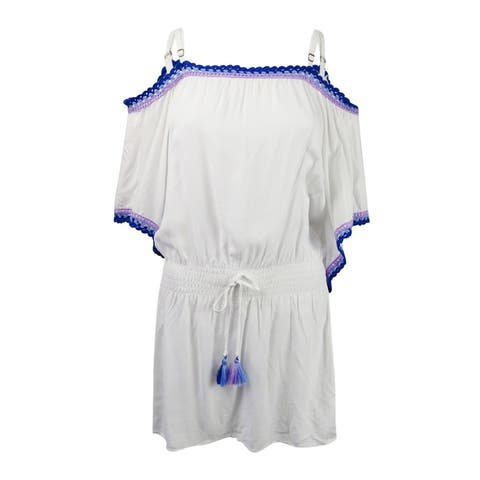 Becca by Rebecca Virtue Women's Crochet-Trim Tunic Cover-Up - White