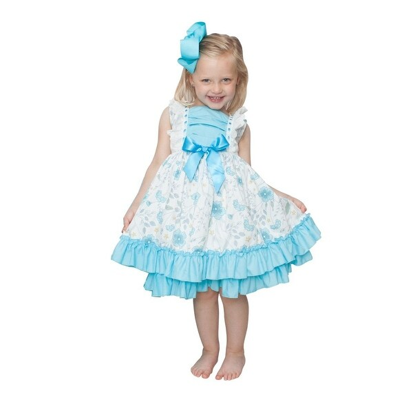Shop Girls Blue White Pastel Floral Print Double Row Ruffle Hemline ... 52da0901cf3f