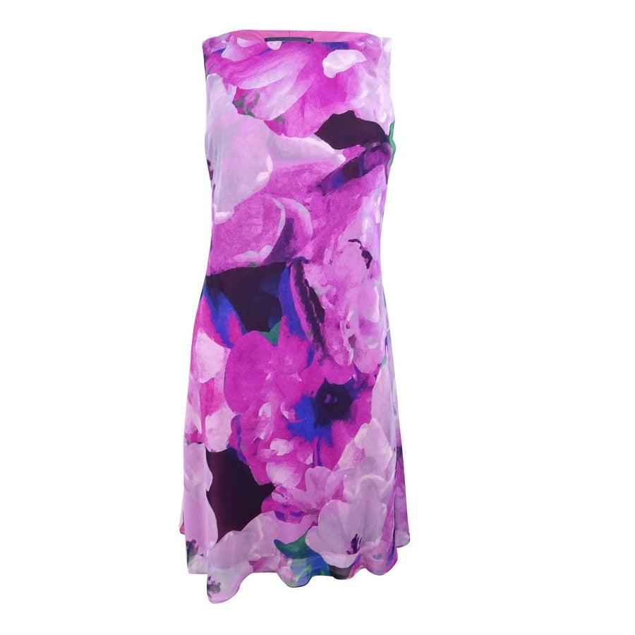 American Living Womens Floral-Print Fit & Flare Dress - Pink Multi