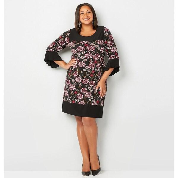 AVENUE Women\'s Floral Puff Print A-Line Dress - Burgundy