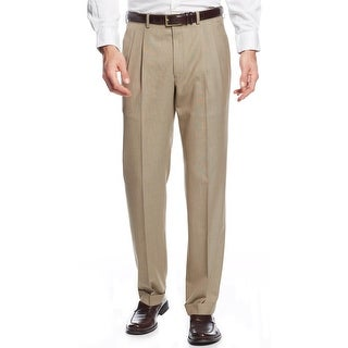 Ralph Lauren Big and Tall Double Pleated Dress Pants Light Brown 42 x 30