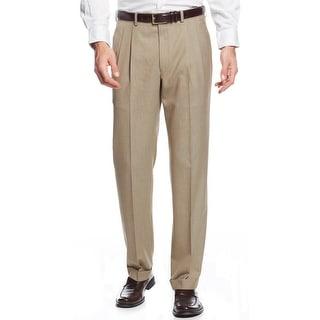 Ralph Lauren Neat Double Pleated Dress Pants Light Brown Solid 36 x 30