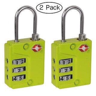 Ivation Three Dial TSA Approved Combination Luggage Lock (Green) - 2 Pack