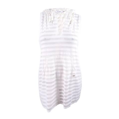 Calvin Klein Women's Crochet Striped Racerback Tunic Cover-Up