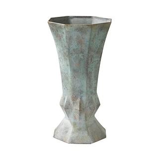 "GuildMaster 2100-015  Geometric 14-3/8"" Tall Metal Vase - Patina"