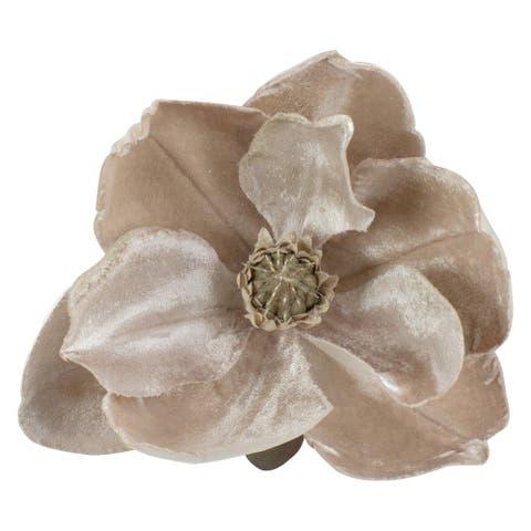 "7"" Beige Artificial Magnolia Clip-On Christmas Ornament"