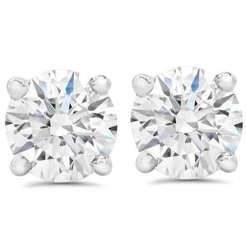 2 1/2Ct T.W. Lab Grown Diamond Screw Back 14k White Gold Studs