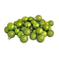 "96ct Kiwi Green Shatterproof 4-Finish Christmas Ball Ornaments 1.5"" (40mm)"