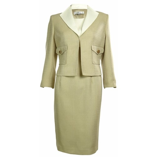 Shop Kasper Womens Business Suit Dress Set Beige White On Sale