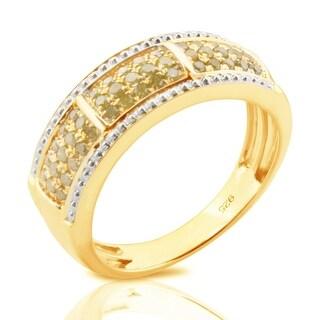 Brand New 0.37 Carat Round Brilliant Cut Real Yellow Diamond Anniversary Ring