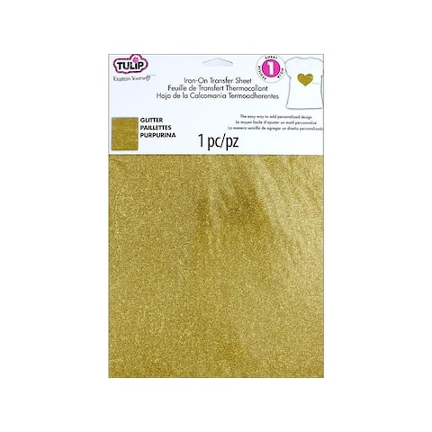 31624 tulip iron on transfer sheet 8 5x11 glitter gold