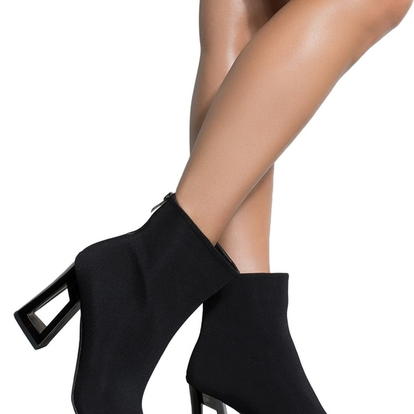 6f1ce2aed17 AZALEA WANG Matte Knit Geometric Open Hole Hollow Block Heel Zip Back Ankle  Booties. Click to Zoom