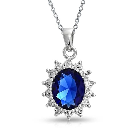 Oval Blue Pendant Imitation Sapphire CZ Halo Crown 925 Sterling Silver