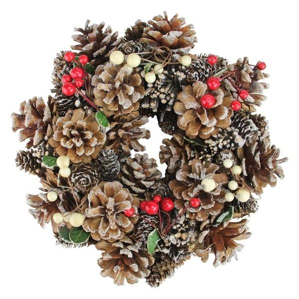 "10.25"" Pine Cones and Berries Artificial Christmas Wreath - Unlit - brown"