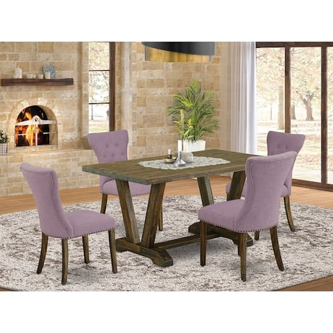 Dining Set Included Parson Chair and Rectangular Table in Distressed Jacobean Finish