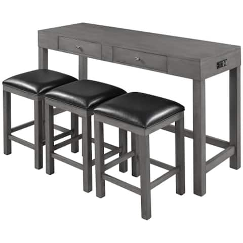 [Presale] 4-PCS Kitchen Counter Height Dining Set With Socket,3 Leather Padded Stools