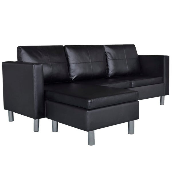 Shop Vidaxl Sectional Sofa 3 Seater Artificial Leather Black Home