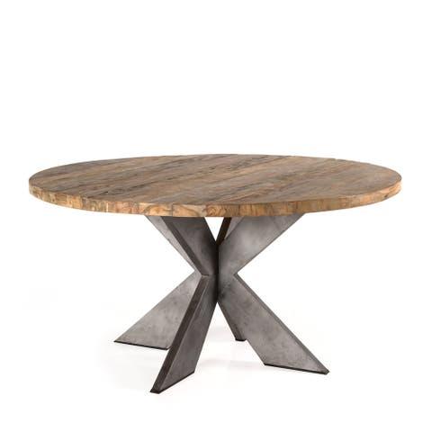 Padma's Plantation Emely Eco-Industrial Reclaimed Teak Dining Table - Oak