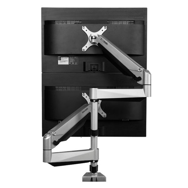 "Loctek D7SD Dual LCD Stacking Arm Monitor Muont, Desktop stand with Clamp/Grommet Base, Holds up to 27"" LCD Screens"
