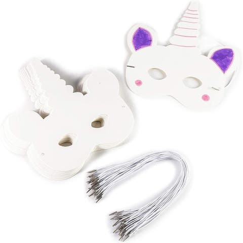 48pcs Unicorn Masks with Elastic Band for Birthday, Party Favors and DIY Crafts - White