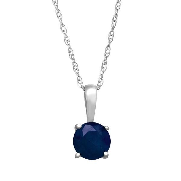5/8 ct Natural Kanchanaburi Sapphire Pendant in 14K White Gold - Blue