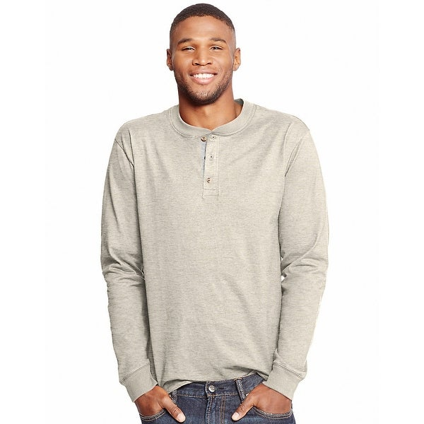 9be767d2 Shop Hanes Men's Beefy-T Long-Sleeve Henley - Size - 2XL - Color -  Pebblestone Heather - Free Shipping On Orders Over $45 - Overstock -  13859007