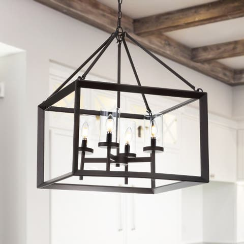 """Anna 21"""" 4-light Metal/Glass LED Pendant, Oil Rubbed Bronze by JONATHAN Y"""