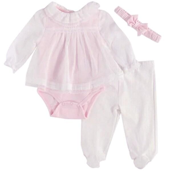 Harry & Violet Baby Girls Pink Tunic Bodysuit Pant Headband 3 Pc Set