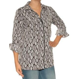 MICHAEL KORS Womens Black Animal Print Cuffed Zip Neck Top Size: S