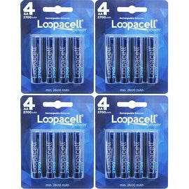 Loopacell 16 Pack AA 2700mAh Ni-MH Rechargeable Batteries with Battery Storage