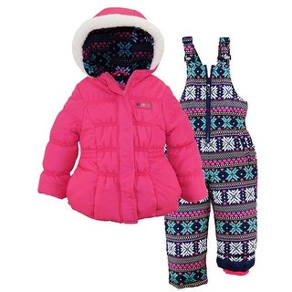 Pink Platinum Toddler Girls Snowsuit Winter Puffer Jacket Snowflake Ski Bib