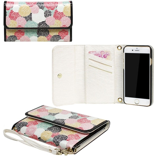 JAVOedge Rosebud Clutch Wallet Case with Matching Wristlet for iPhone 6 Plus (5.5 inch)