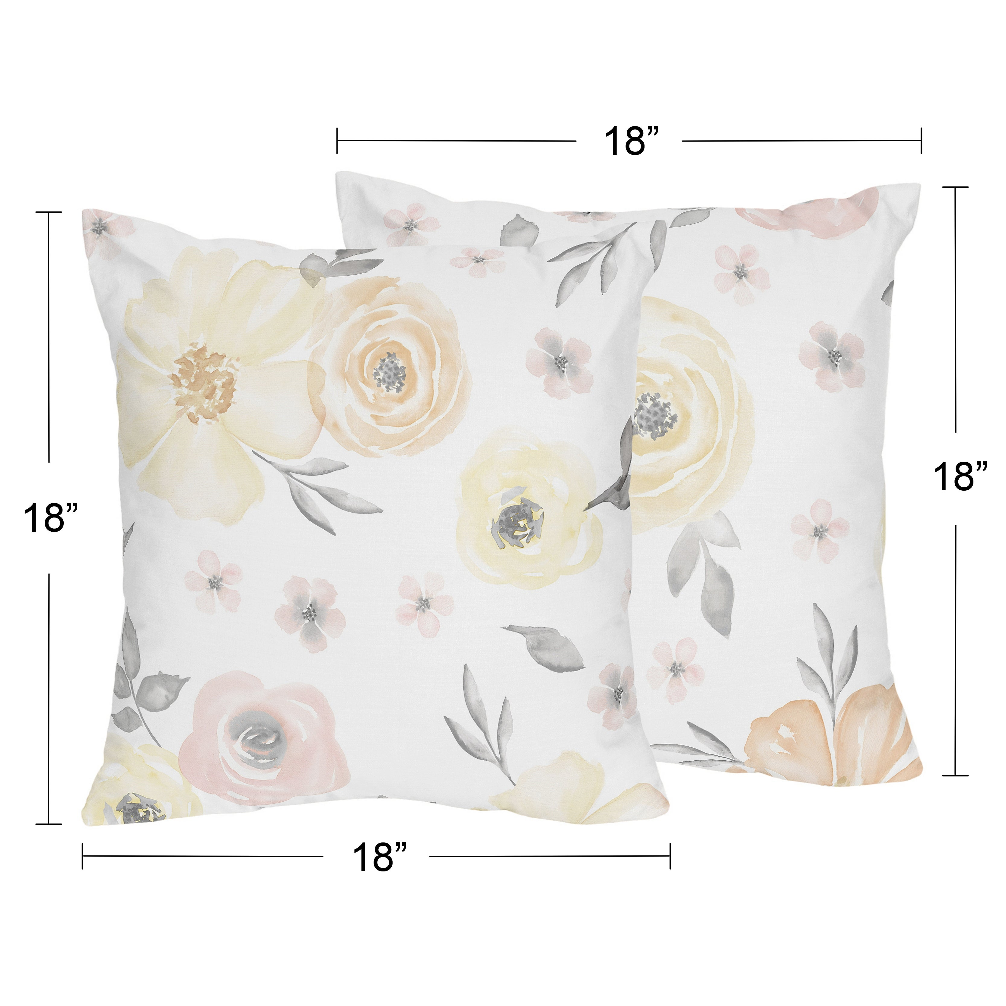 Yellow Pink Watercolor Floral 18in Decorative Accent Throw Pillows Set Of 2 Blush Peach Grey Shabby Chic Rose Flower Farmhouse Overstock 32583906