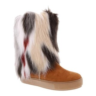 Penny Loves Kenny Women's Airbrush Fur Boot Tan Microsuede/Multi Faux Fur