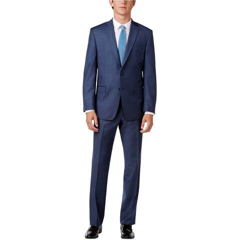 Calvin Klein Mens Slim Fit Stretch Dress Pants Slacks, Blue, 34W x UnfinishedL - 34W x UnfinishedL