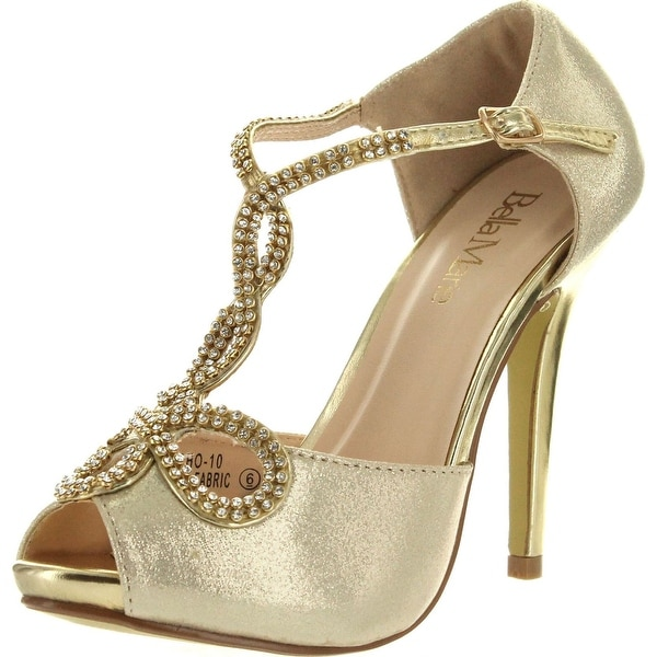 Bella Marie Womens Soho-10 Ankle Strappy Peep Toe Pump Stiletto Party Dress Heel