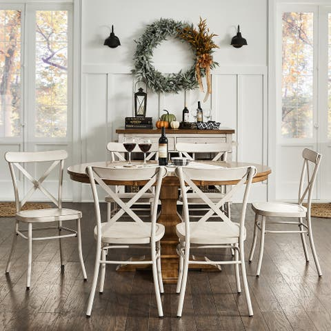 Eleanor Dining Set with Metal X-Cross Back Chairs by iNSPIRE Q Classic