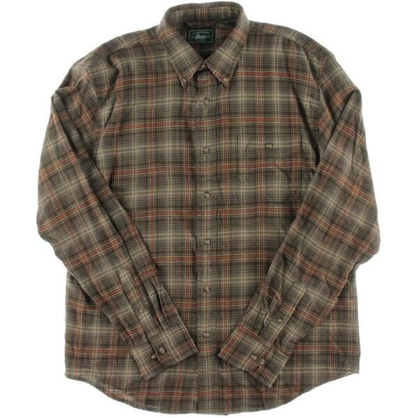 Bass Mens Fireside Button-Down Shirt Flannel Plaid