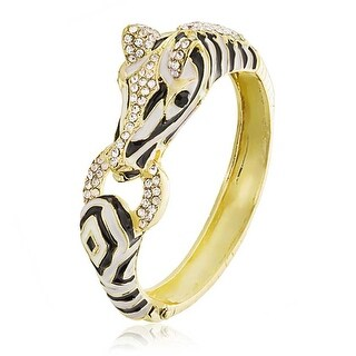 Bling Jewelry Gold Plated Crystal Zebra Bangle Statement Bracelet