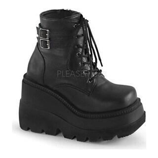 Demonia Women's Shaker 52 Ankle Boot Black Vegan Leather