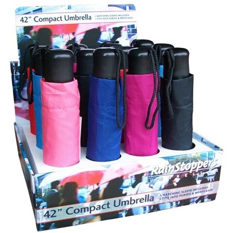42 in. Manual Open Assorted Colors Super Mini Umbrellas with Black