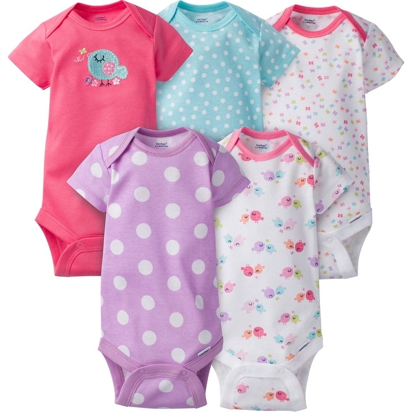 3a1ded3fa Shop Gerber Baby Girl 5 Pack Onesies, Birdie - Pink - Free Shipping On  Orders Over $45 - Overstock - 28420558