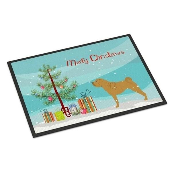 Carolines Treasures BB2970JMAT Shar Pei Merry Christmas Tree Indoor or Outdoor Mat 24 x 36
